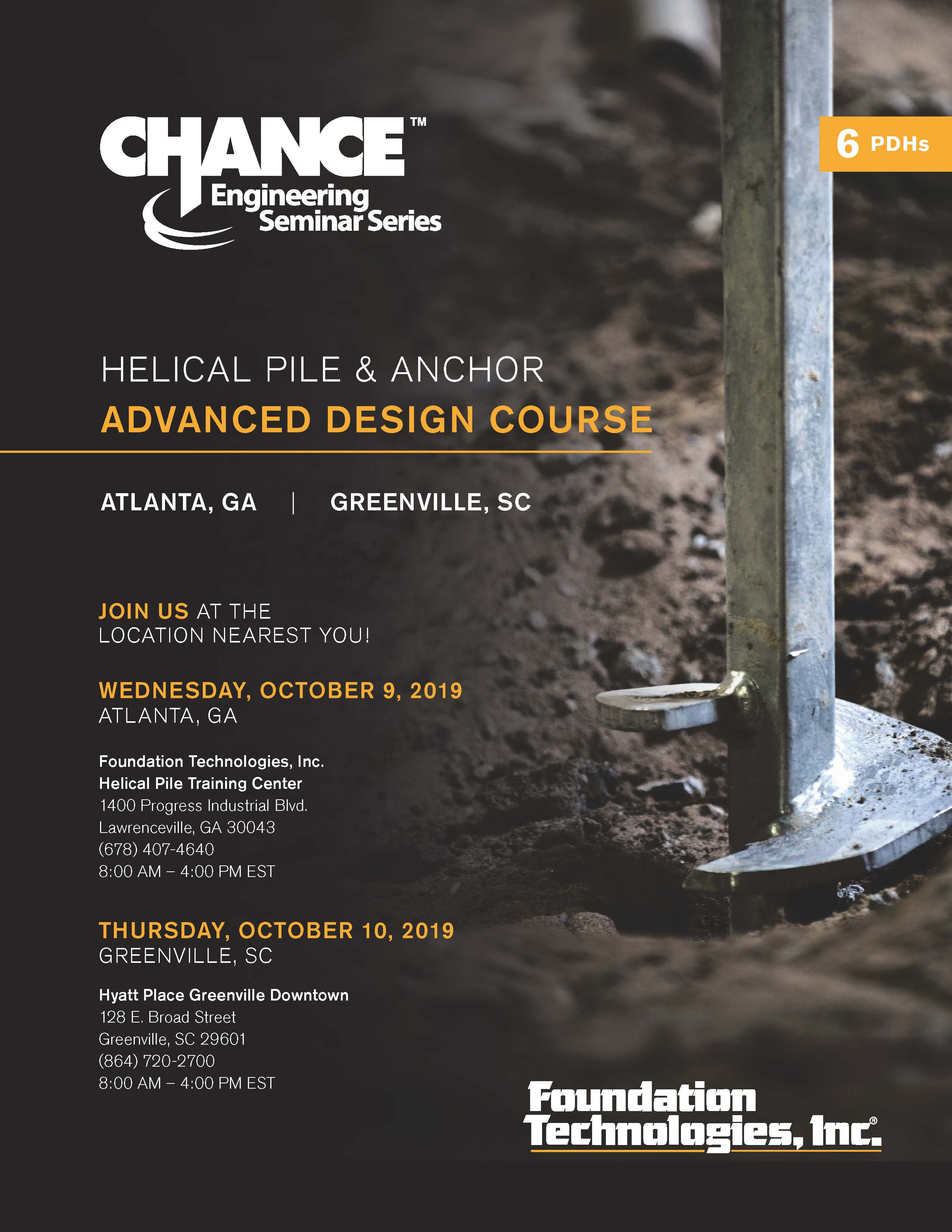 CHANCE® Helical Pile & Anchor Advanced Design Course at Greenville