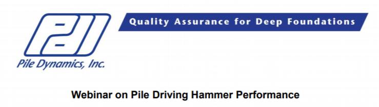 Webinar on Pile Driving Hammer Performance