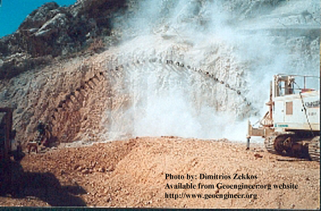 Title: Begin of Forepoling in the Kakia Skala Tunnel<br>Title: Begin of Forepoling in the Kakia Skala Tunnel, Greece Donated by: D. Zekkos Date: 1999