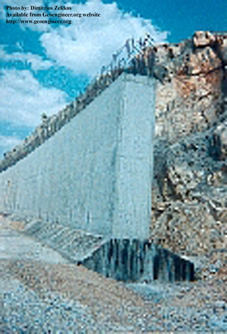 Title: Closer view of side of the Cut and cover tunnel in Circuit district of Immitos<br>Title: Closer view of side of the Cut and cover tunnel in Circuit district of Immitos, Athens, Greece Donated by: D. Zekkos Date: 1999