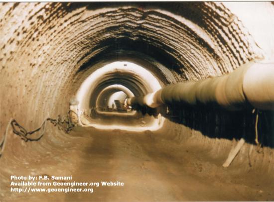 Title: Alaviyan Diversion tunnel<br>Title: Alaviyan Diversion tunnel excavated by Roadheader in soft Tuff. Donated by: F.B. Samani Date: December 1994.