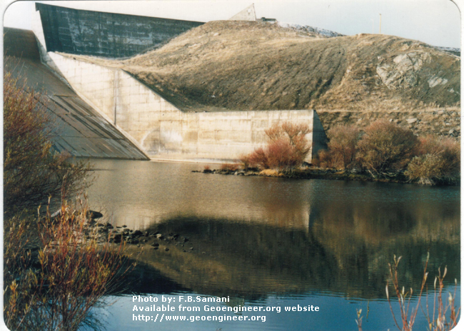 Title: Left spillway wall<br>Title: Photo No.3: Left spillway wall, chute and stilling basin. Donated by: F.B. Samani Date: February 1997