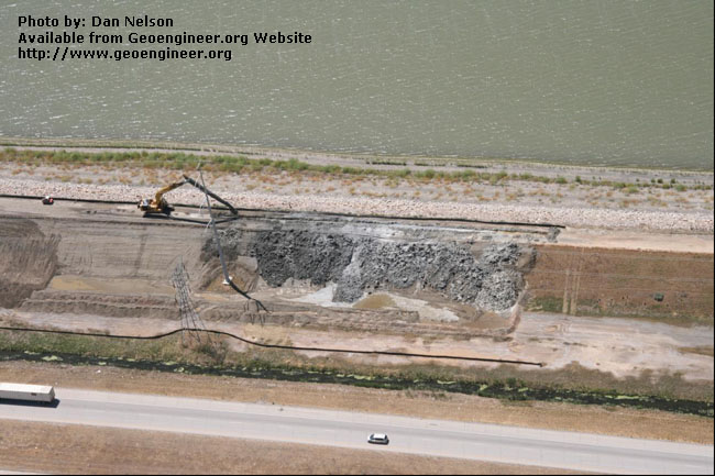 Title:  Aerial view of the CB wall<br>Title: D-526-418-5135 a?? Aerial view of the CB wall being excavated near Station 731+00.  Donated by: Jeffrey A. Farrar Date: July 23, 2008