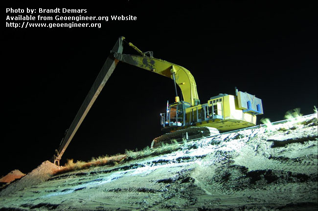 Title: View of night-time CB wall construction<br>Title: D-526-418-5340 a?? View of night-time CB wall construction near Station 629+00.  Donated by: Jeffrey A. Farrar Date: August 21, 2008