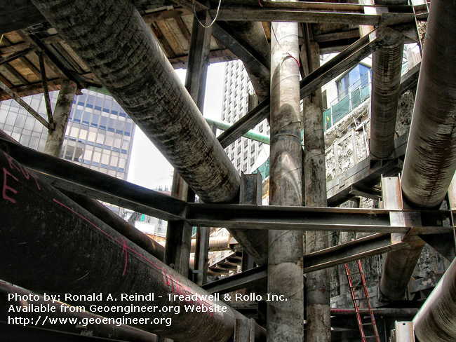 Title: 301 Mission Internal Shoring, No.4<br>Title: 301 Mission Internal Shoring, San Francisco, CA. The maze of internal shoring elements and supports for the excavation trestle.
