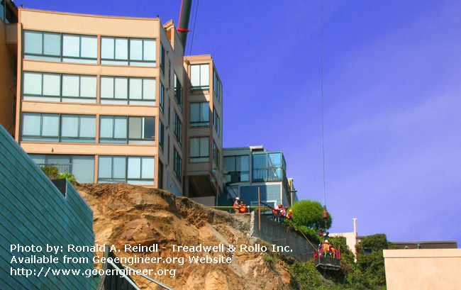 Title: Broadway Rockslide, No.2<br>Title: Broadway Rockslide, San Francisco, CA. Another view of the Telegraph Hill rockslide, as the existing concrete retaining wall is being checked for stability.