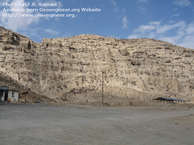 Title: Dasht- e Arjan western normal fault plane<br>Title: Dasht- e Arjan western normal fault plane visible at the toe of the limestone Scarp.