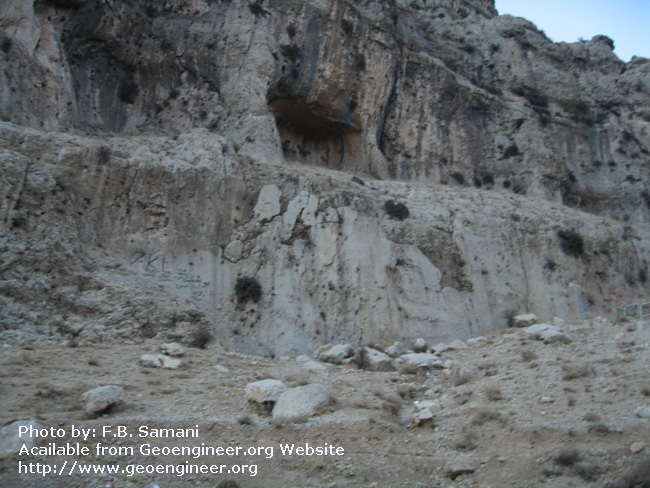 Title: closer view of Dasht-e- Arjan fault plane<br>Title: closer view of Dasht-e- Arjan fault plane at middle and karst shelter in the upper part.