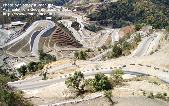 Title: Hill road alignment<br>Title: Hill road alignment, hair pin bend