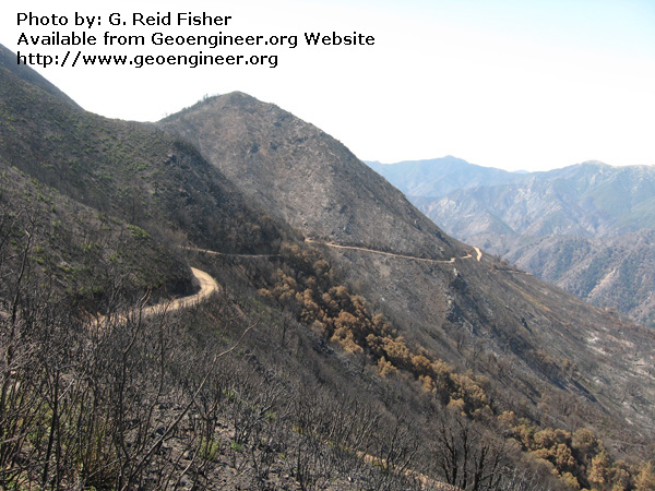 Title: Burnt terrain extending to skyline<br>Title: Burnt terrain extending to skyline, Church Creek drainage, Monterey County, California, USA.  