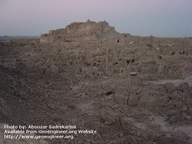 Title: The historical citadel of Arg-e-Bam<br>Title: The historical citadel of Arg-e-Bam (2000 years old) after Bam 2003 earthquake (Mw = 6.3; death toll of about 26000), Bam City, Iran.