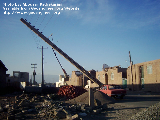 Title: Broken electricity power pole<br>Title: Broken electricity power pole, Bam City, Iran.