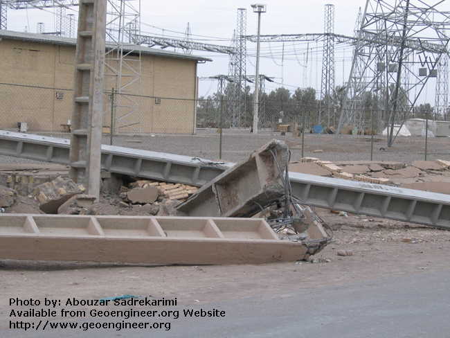 Title: Collapsed power pole<br>Title: Collapsed power pole, Bam City, Iran.