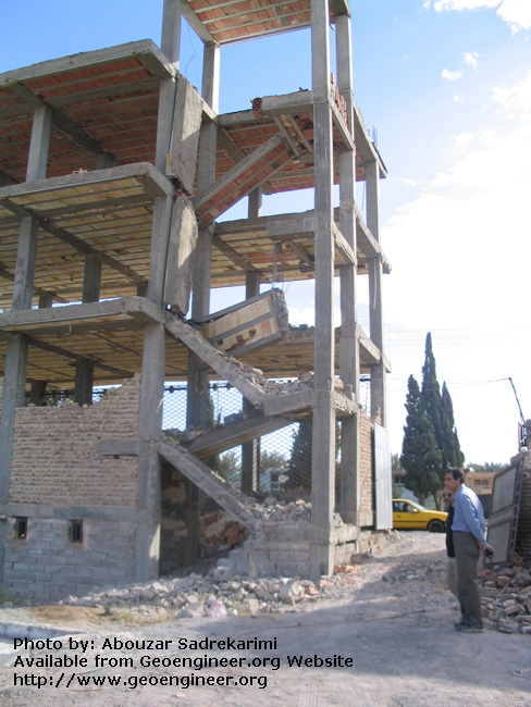 Title: Collapsed stairway<br>Title: Collapsed stairway, 2003 Bam earthquake (Mw = 6.3; death toll of about 26000), Bam City, Iran..
