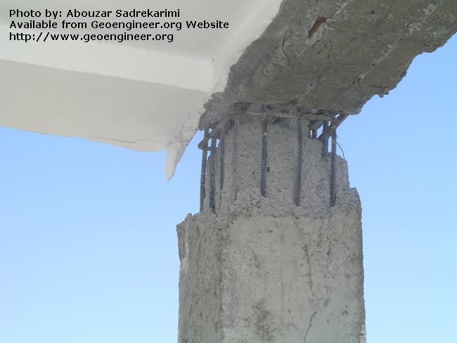 Title: Damaged concrete beam-to-column joint<br>Title: Damaged concrete beam-to-column joint, Bam City, Iran.