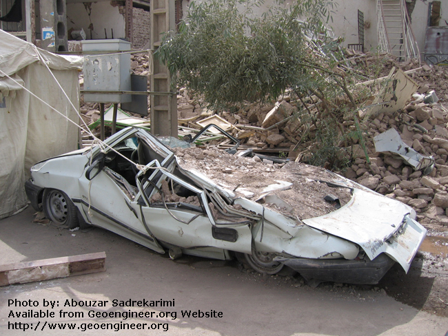 Title: Damaged vehicle<br>Title: Damaged vehicle, Bam City, Iran.