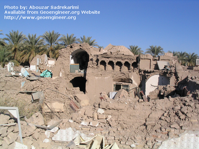 Title: Damage of Structure<br>Title: Though stable, the thick and heavy domes of the adobe houses were one of the contributing factors to the damage of these structures, Bam City, Iran..