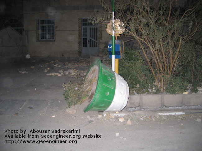 Title: Displacement of large vase<br>Title: The earthquake displaced and moved this large vase, Bam City, Iran.
