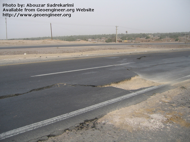 Title: Trace of Bam Earthquake fault on the road<br>Title: Trace of Bam Earthquake fault on the road, Bam City, Iran.