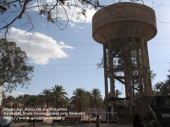 Title: Water storage tower<br>Title: This water storage tower was not significantly damaged, possibly because of its low natural frequency in comparison to the higher dominant frequency of the Bam 2003 earthquake, Bam City, Iran.