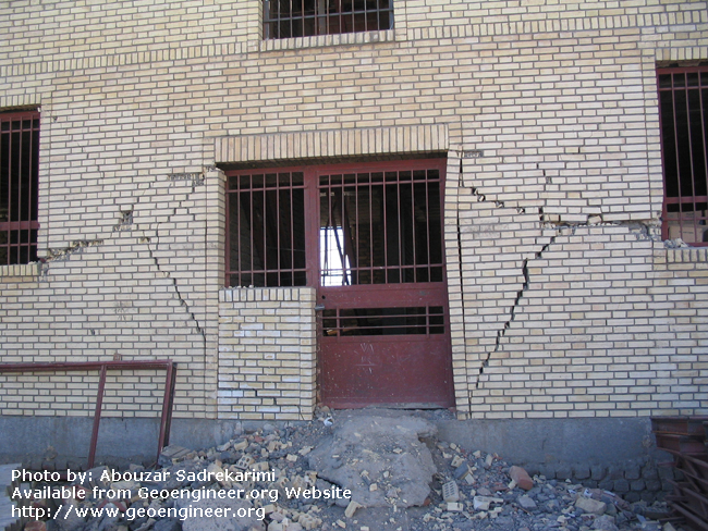 Title: X-shaped cracking<br>Title: X-shaped cracking, Bam City, Iran.
