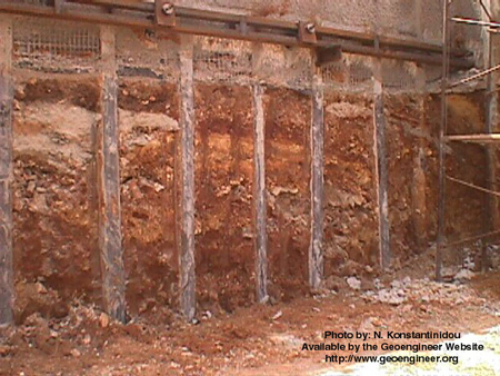 Title: Side view of a Berlinoise-type wall in a deep excavation in Greece<br>Title: Side view of a Berlinoise-type wall in a deep excavation in Greece