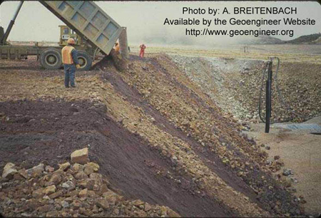 Title: Earthfill and Rockfill Placed in Rock Dump Fill Lift Thickness.<br>Title: Earthfill and Rockfill Placed in Rock Dump Fill Lift Thickness.
