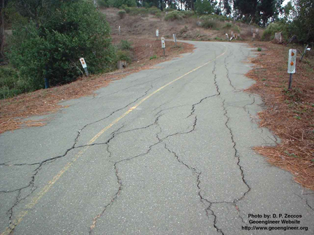 Title: Cracks on road due to swelling ground<br>Title: Cracks on road due to swelling ground