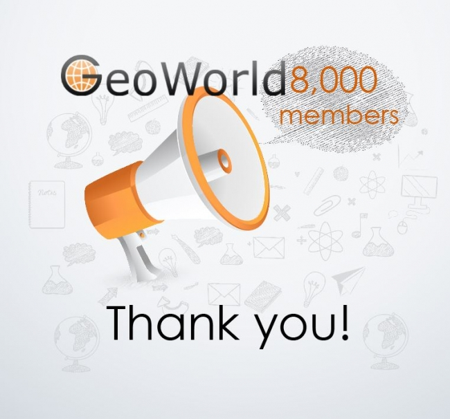 GeoWorld reached 8,000 registered members!
