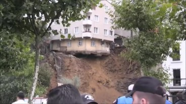 Collapse of retaining wall in Beyoglu Instanbul