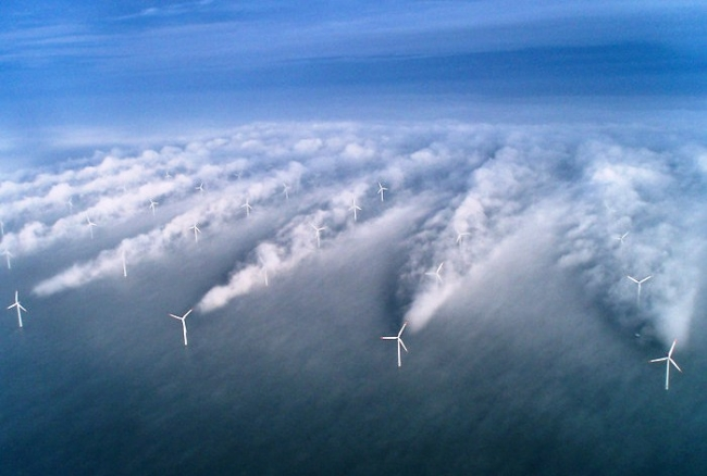 Wind turbines shadow effect-Fog visualization