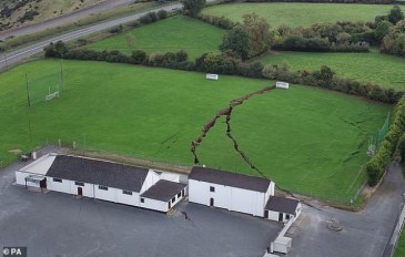 Large sinkhole caused by mine collapse in Ireland