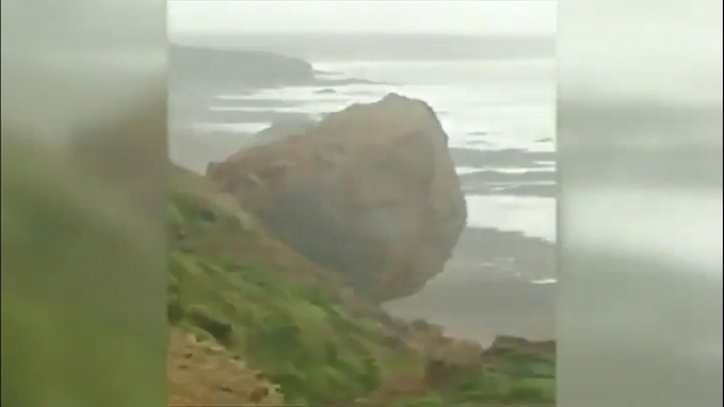 Cornwall cliff collapse caught on camera