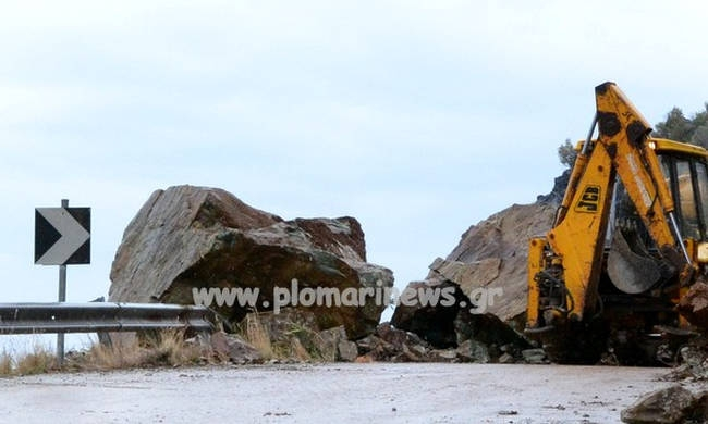 Rockfalls struck again the Island of Lesvos, Greece,Source: Plomari news