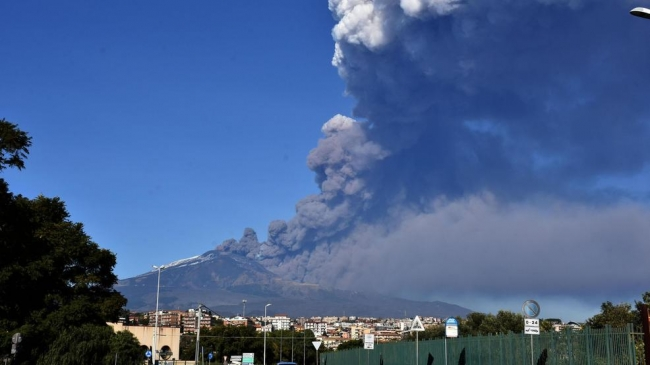 Mount Etna erupted in Sicily, Italy