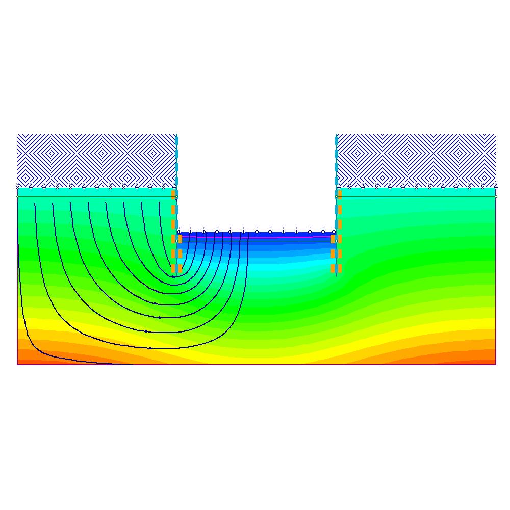 Complex cofferdam seepage analysis: pore pressure results with flowlines.