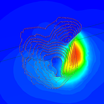 Displacement contours for open pit mine analysis.