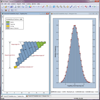 View toppling joint spacing distribution in probabilistic analysis.