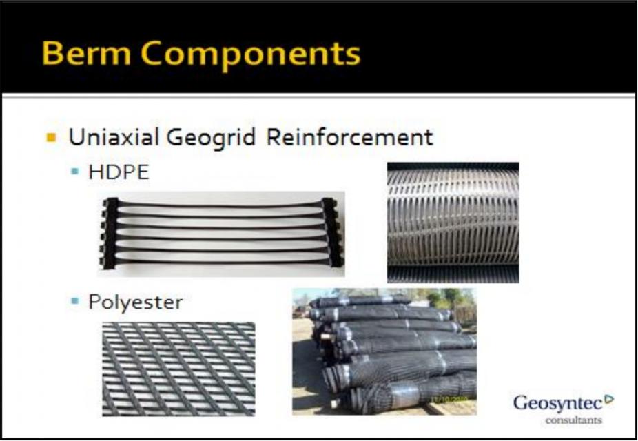 Figure 1: Common Berm Components, Uniaxial Geogrid Reinforcement