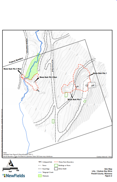 Figure 1: Site map of Lilly/Orphan Boy Mine (NewFields 2016)