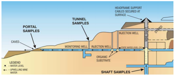 Figure 4: Elevation map of Lilly and Orphan Boy Mine SRB bioreactor remediation (Bless et al, 2008).